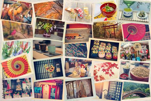 Naklejka premium Kolaż zdjęć zrobionych podczas podróży po Japonii na tle japońskiego papieru. Stonowany. Podróż do Japonii.