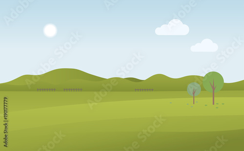 Foto op Plexiglas Groene Green landscape and blue sky, vector