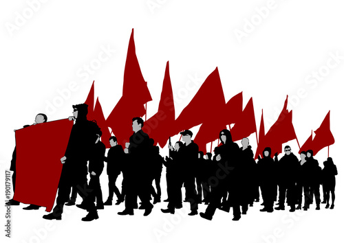 Photo People of with large flags on white background