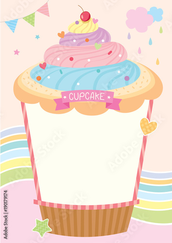 Rainbow Cupcake Design For Menu Template Buy This Stock Vector And