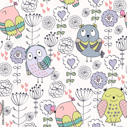 Foto op Canvas Kunstmatig Vector seamless pattern with owls and flowers
