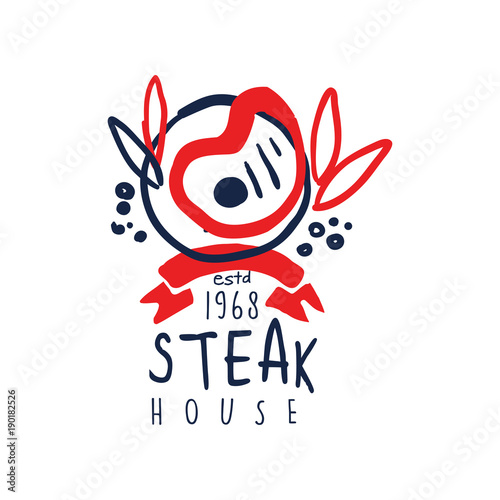 Fotografia  Steak house logo since 1968, vintage label colorful hand drawn vector Illustrati