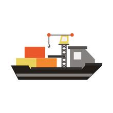 Freighter Ship Symbol Icon Vec...