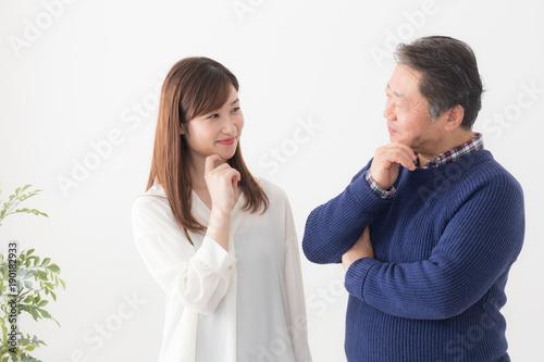 親子 父親と娘 Canvas Print