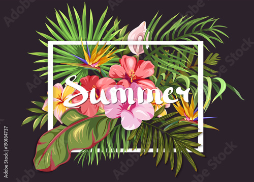 Summer bouquet with tropical plants and exotic flowers. Lettering on the background of plants