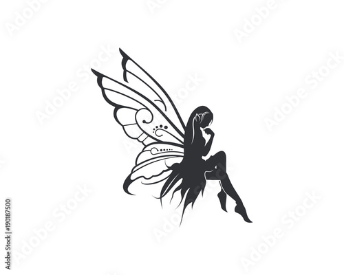 Fotografie, Tablou Flying Beautiful Fairy with Wings Illustration Silhouette Symbol Logo Vector