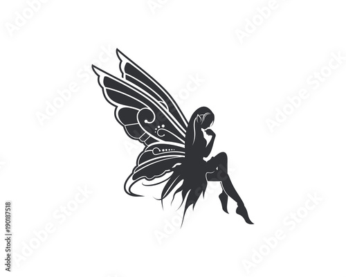 Photographie Flying Beautiful Fairy with Wings Illustration Silhouette Symbol Logo Vector