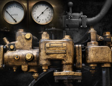 Mechanical And Steampunk Grunge Background Collage. Old Mechanism.