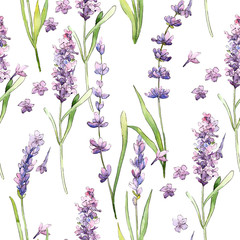 Fototapeta Vintage Wildflower lavender flower pattern in a watercolor style. Full name of the plant: lavender. Aquarelle wild flower for background, texture, wrapper pattern, frame or border.