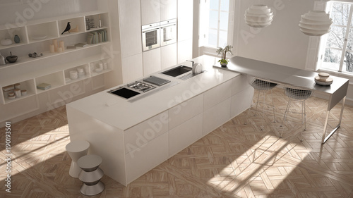 Modern kitchen in classic interior, island with stools and two big window, top view, white architecture interior design