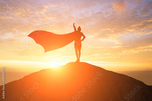 Fototapeta super business woman on mountain obraz