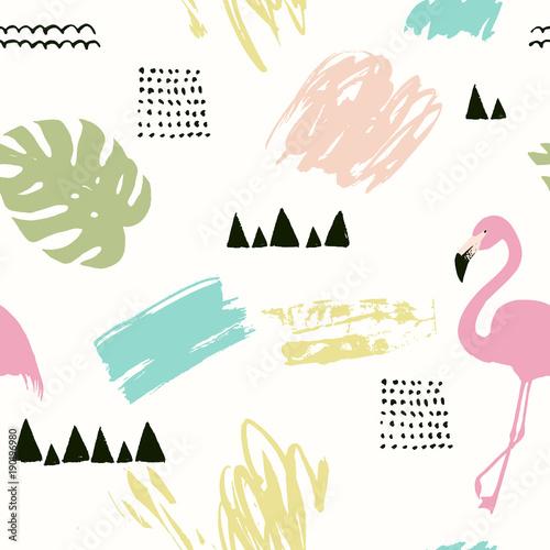 abstrakcjonistyczny-geometryczny-tropikalny-wzor-z-flamingiem-wektorowa-ilustracja-z-kreatywnie-elementami