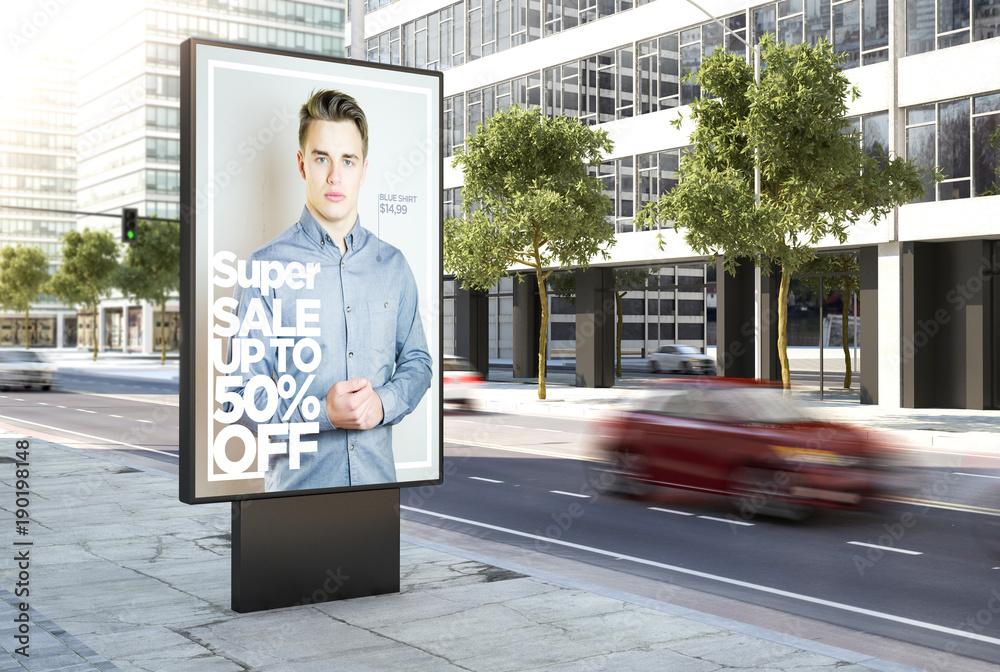 Fototapety, obrazy: fashion advertising poster on the city