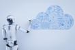 Leinwandbild Motiv robot with cloud