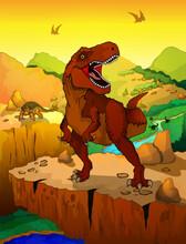 Cute Cartoon Tyrannosaurus Wit...