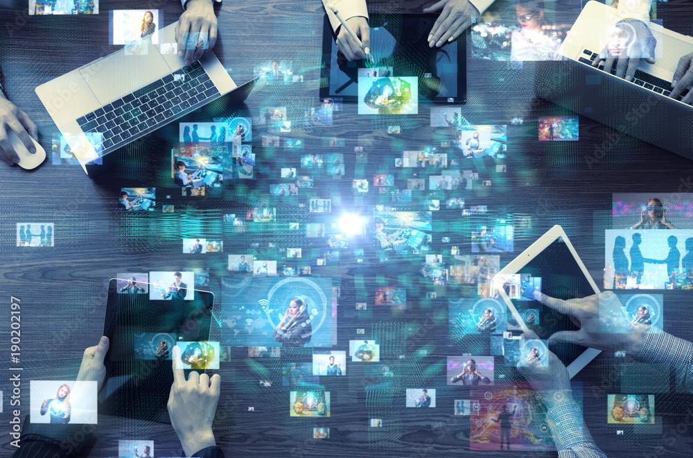 Fototapety, obrazy: Social media concept. Social networking service. Video hosting website. Streaming video.
