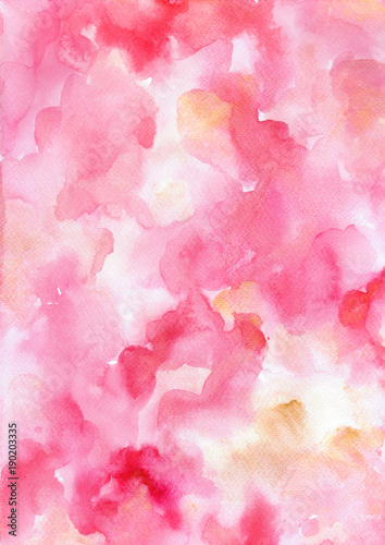 Fotografie, Obraz  Watercolor abstract painting in pink, red colors.