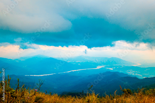 Foto op Aluminium Blauw high mountains peaks range clouds in fog scenery landscape national park view outdoor at Chiang Rai, Chiang Mai Province, Thailand