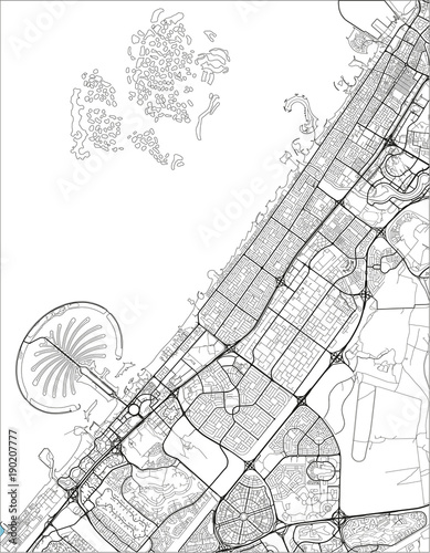 Fotomural Black and white vector city map of Dubai with well organized separated layers