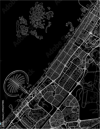 Photo Black and white vector city map of Dubai with well organized separated layers