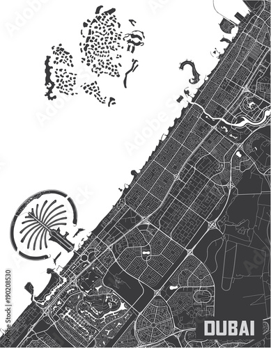 Minimalistic Dubai city map poster design. Wallpaper Mural