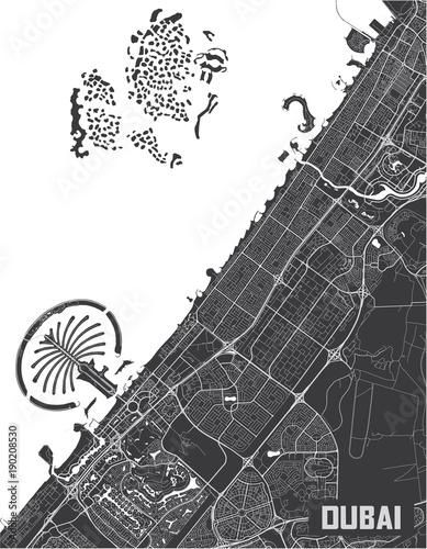 Fototapeta Minimalistic Dubai city map poster design.