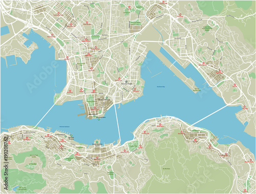Obraz na plátně Vector city map of Hong Kong with well organized separated layers