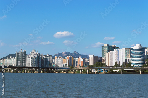 architecture of modern Seoul view from Han river Poster