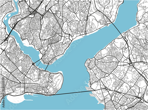 Fotografie, Obraz Black and white vector city map of Istanbul with well organized separated layers