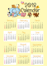 Calendar Template For 2018 Wit...