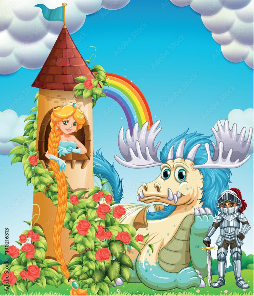 Księżniczka w wieży z rycerzem i smokiem