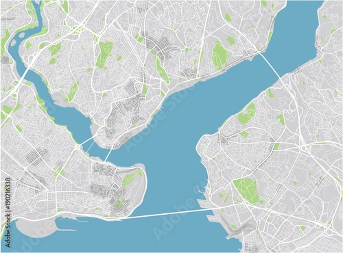 Fotografie, Obraz Vector city map of Istanbul with well organized separated layers.