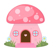Mushroom House Icon, Cartoon S...