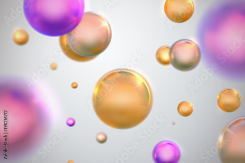 Fotografía  Abstract background with glossy golden and purple spheres