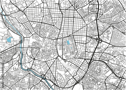 Black and white vector city map of Madrid with well organized separated layers Billede på lærred