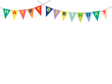 Hand Drawn Vector Illustrations With Bunting, Happy Birthday Letters Written On The Flags. Isolated Objects On White Background. Design Concept For Children, Birthday Celebration.