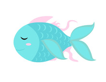 Cute Little Fish Icon, Flat, Cartoon Style. Isolated On White Background. Vector Illustration