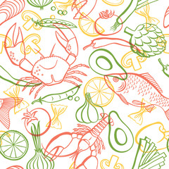 Fototapetacook7/Vector hand drawn seafood and vegetables pattern. Seamless pattern.