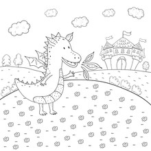 Coloring Book Fairy Tale Dragon And Magic Castle Design For Kids.
