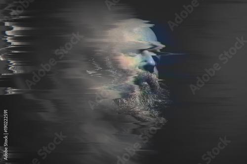 Fotografie, Obraz  bearded bald man glitch
