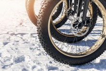 Close Up Of Fatbike Tires In T...