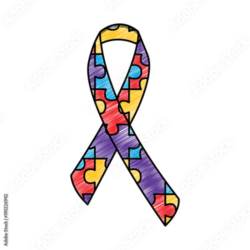 autism awareness ribbon made with jigsaw puzzle vector illustration drawing  color design - Buy this stock vector and explore similar vectors at Adobe  Stock | Adobe Stock