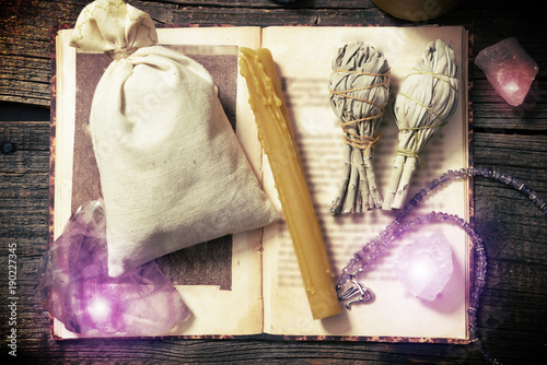 Natural rocks and white sage witchcraft tools