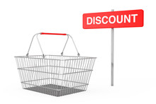 Red Pole Discount Sign Near Wire Shopping Basket. 3d Rendering