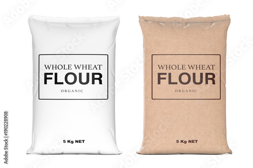 Paper Bags of Whole Wheat Organic Flour. 3d Rendering
