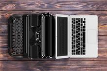 Modern Laptop Computer With Antique Typewriter. 3d Rendering
