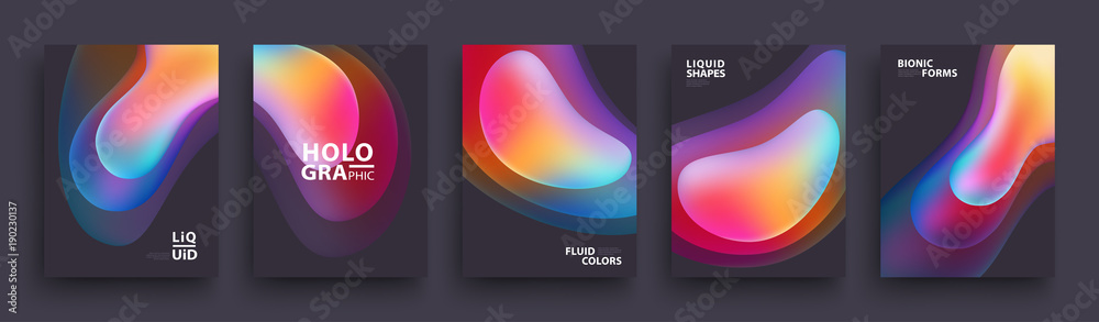Fototapety, obrazy: Modern Covers Template Design. Fluid colors. Set of Trendy Holographic Gradient shapes for Presentation, Magazines, Flyers, Annual Reports, Posters and Business Cards. Vector EPS 10