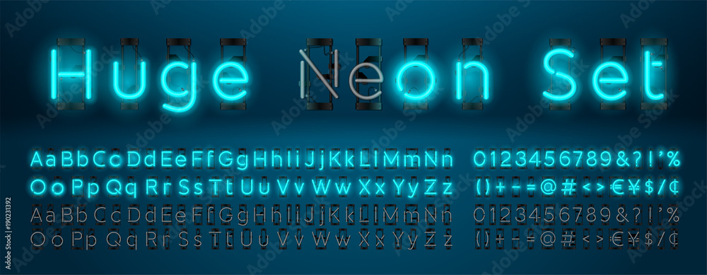 Fototapety, obrazy: Mega huge neon set glowing alphabet with upper and lowercase letters, vector Font. Glowing text effect. On and Off lamp. Neon Numbers and punctuation marks. isolated on blue background.