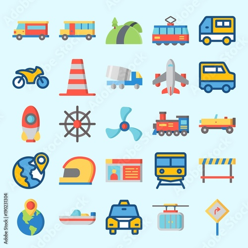 Garden Poster Cartoon cars Icons set about Transportation with rudder, destination, road sing, driving license, cable car and bus