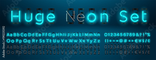 Fotografía  Mega huge neon set glowing alphabet with upper and lowercase letters, vector Font